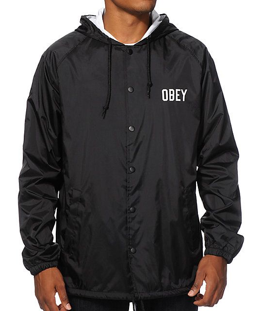 Obey Corner Block Hooded Coach Jacket | Men's fashion and Black