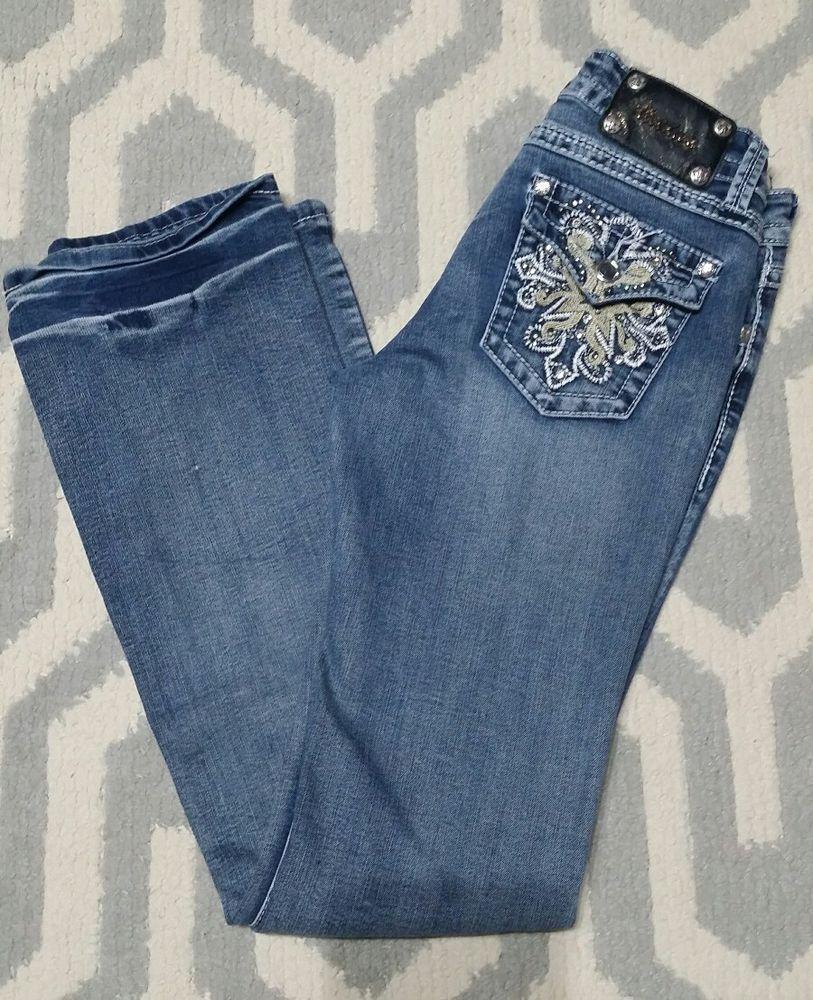 3ffa760af8e Womens Jr ViVi Diva Jeans 6   28 Bling Miss Stretch Flap Pockets  Rhinestones