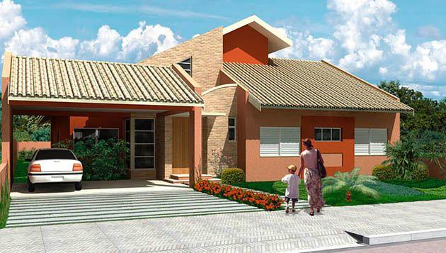 fachadas casas verdes y techos rojos - Buscar con Google