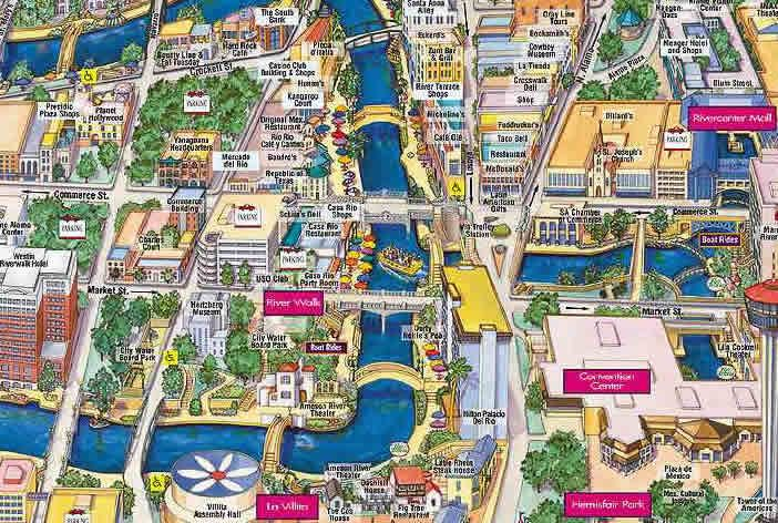 San Antonio River Walk Map for tourists | Places I want to go | San on