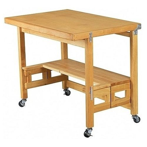Folding Kitchen Island Work Table Mobile Folding Desk Workbench Heavy Duty Rolling Computer