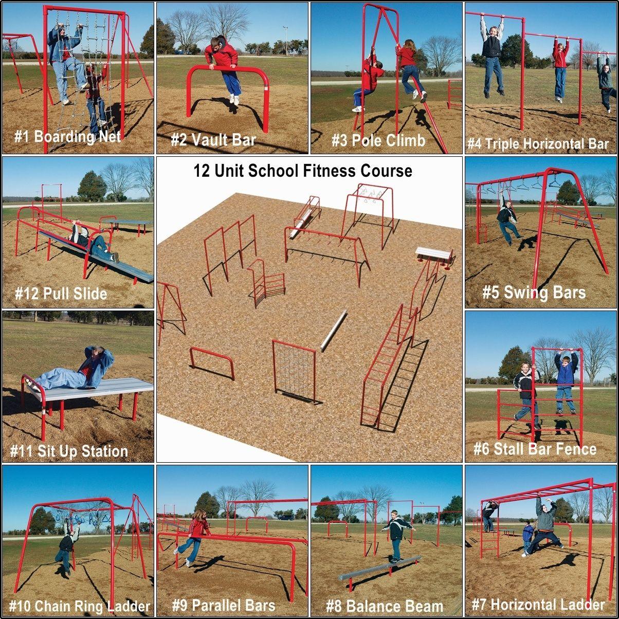 School Fitness Equipment 12 Piece Outdoor Fitness Equipment Fitness Courses Fitness Trail