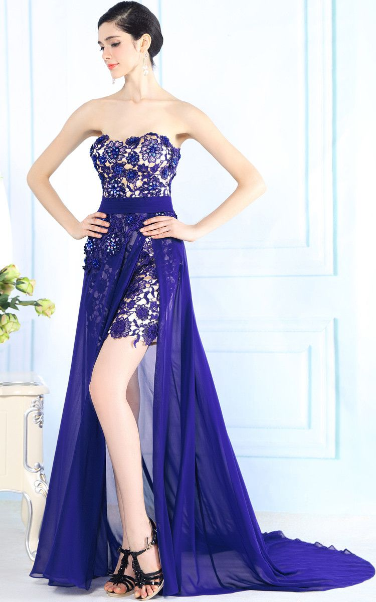 Lace dress royal blue  Hot Purple Strapless Lace Evening Dress with Side Slit  Purple