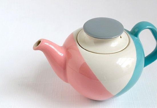 vintage teapot in pastel colours
