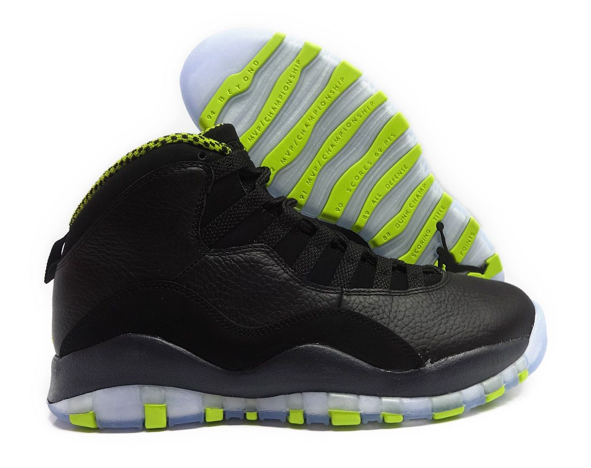 822ff0f4b844b2 ... official 310805 033 air jordan retro 10 black venom green grey men  sneakers sz 8841a 9b2ef