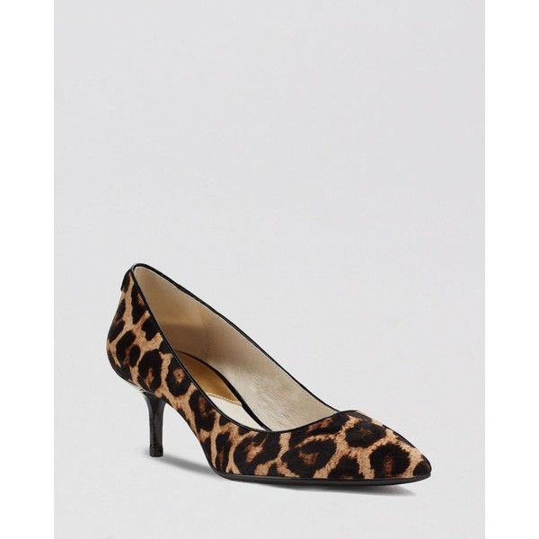 Michael Michael Kors Pumps  Mk Flex Leopard Print Kitten Heel found on  Polyvore