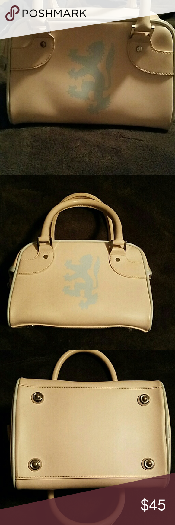 Authentic Pringle Of Scotland Purse Cute Pink Bag With Baby Blue Trim Nice Chunky Size 8 5 W X 6 H D Made Pvc Pringles Brand