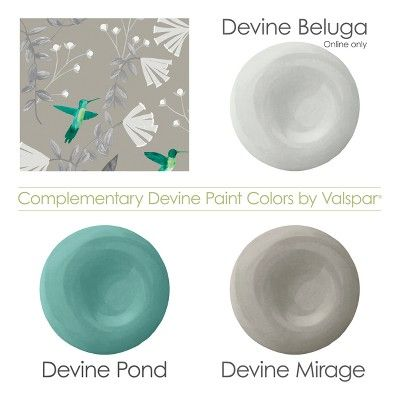Devine Color Hummingbirds Mirage & Beluga Wallpaper (With