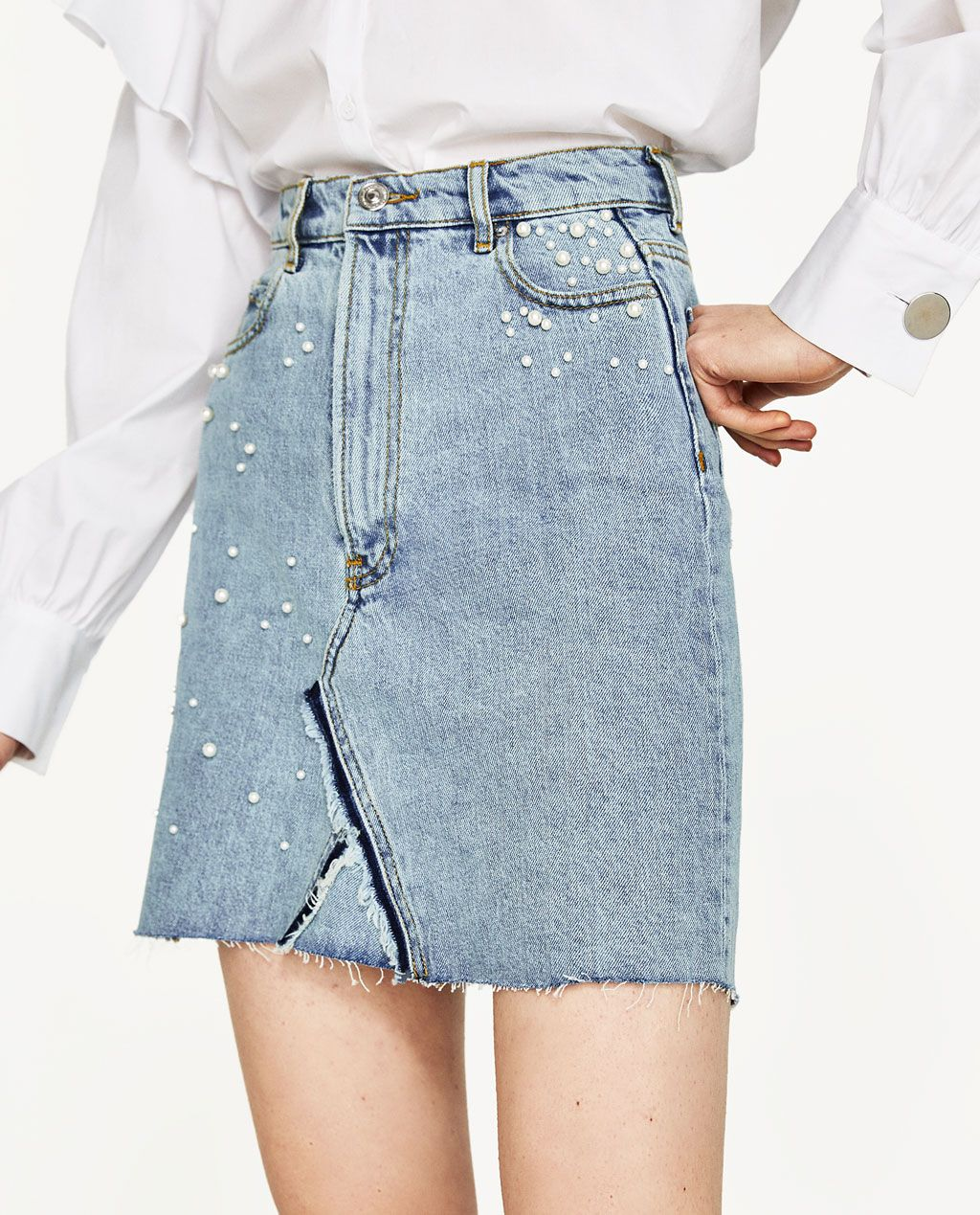 9460145d83 Image 2 of DENIM SKIRT WITH PEARL DETAILS from Zara | DENIM in 2019 ...