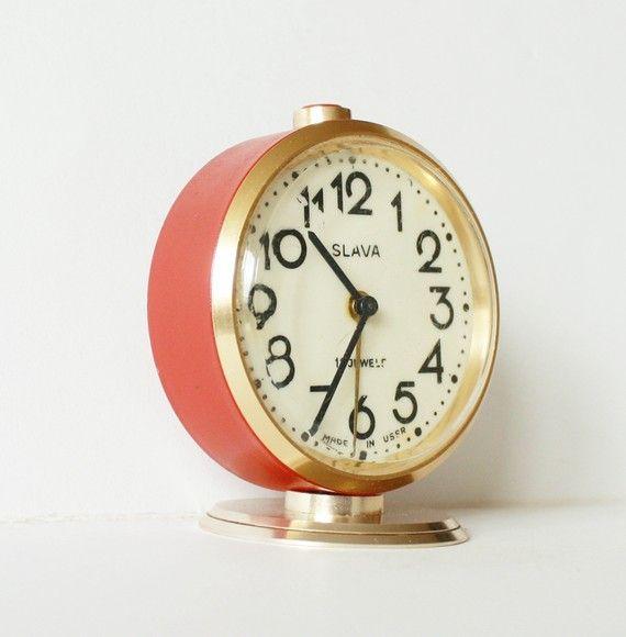 Home Mantel Nightstand Desk Design Decor Made in USSR Russia Vintage Rare 1950s Soviet Clock Slava Mechanical Mini Compact Alarm Clock