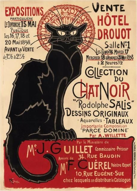 Vente Collection du Chat Noir (1898)  Theophile Steinlen poster