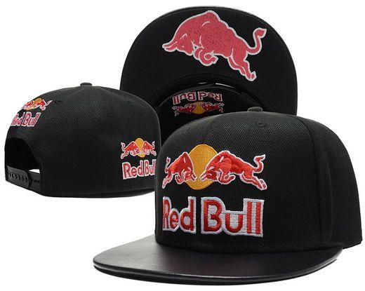 magasin en ligne d9009 5a35d Red Bull Black Snapback Hats Brim Black Leather Under Logo 1 ...