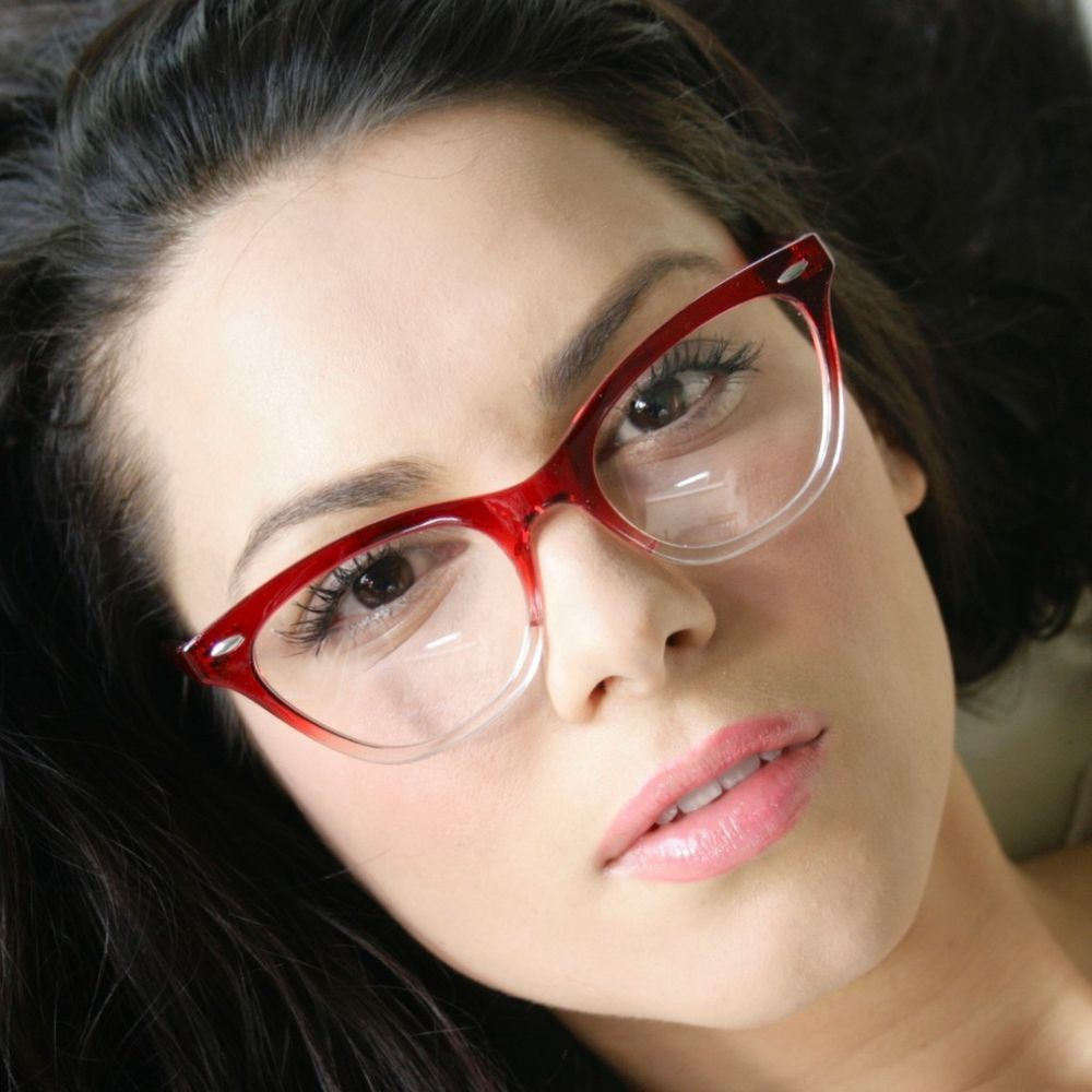 03ebb8f118 50 s Vintage Clear Lenses Gradient Red Clear Frame Sexy Cat Eye Women  Eyeglasses…