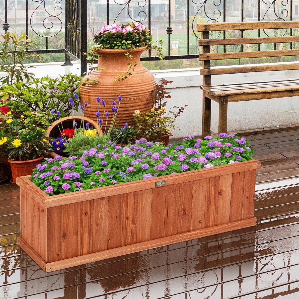 40 Inch Wooden Flower Planter Box Garden Yard Decorative