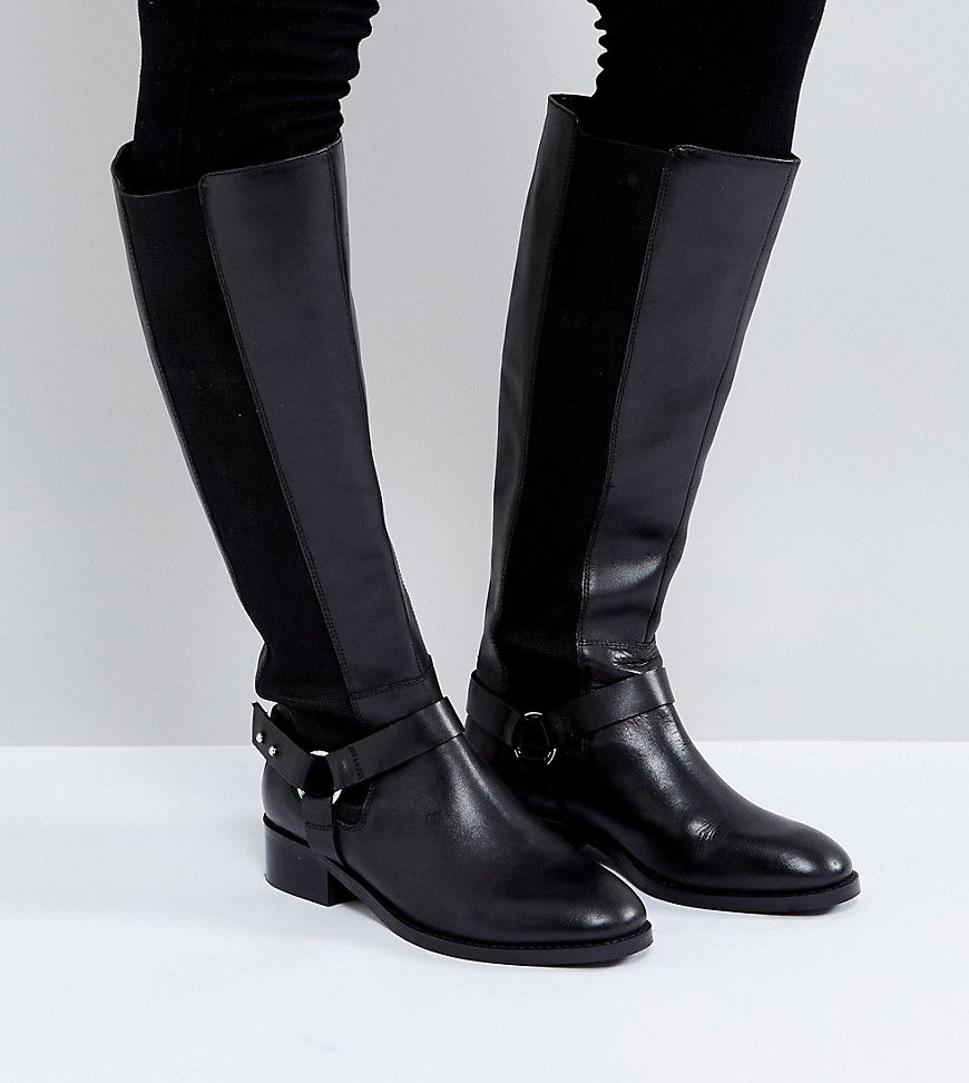 CURIOUS Wide Fit Leather Knee Boots - Black Asos 5OKeGp