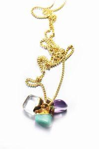 £38 Miniature Triple Tumbled stone Charm pendant