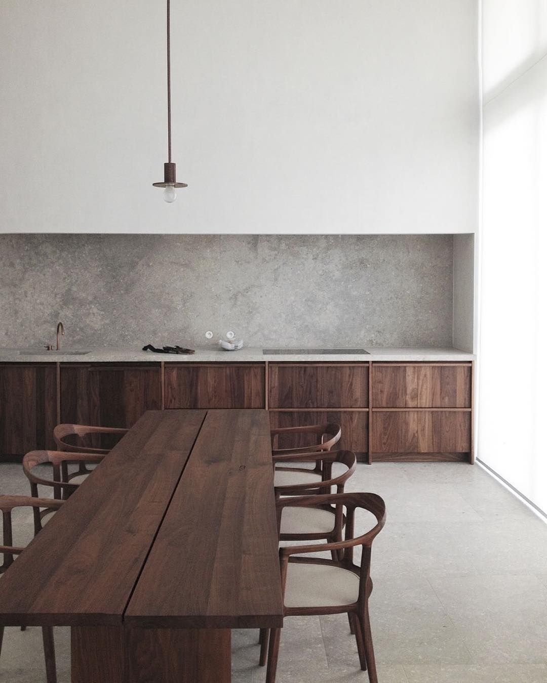 the most amazing kitchen dark wood concrete black and white hans