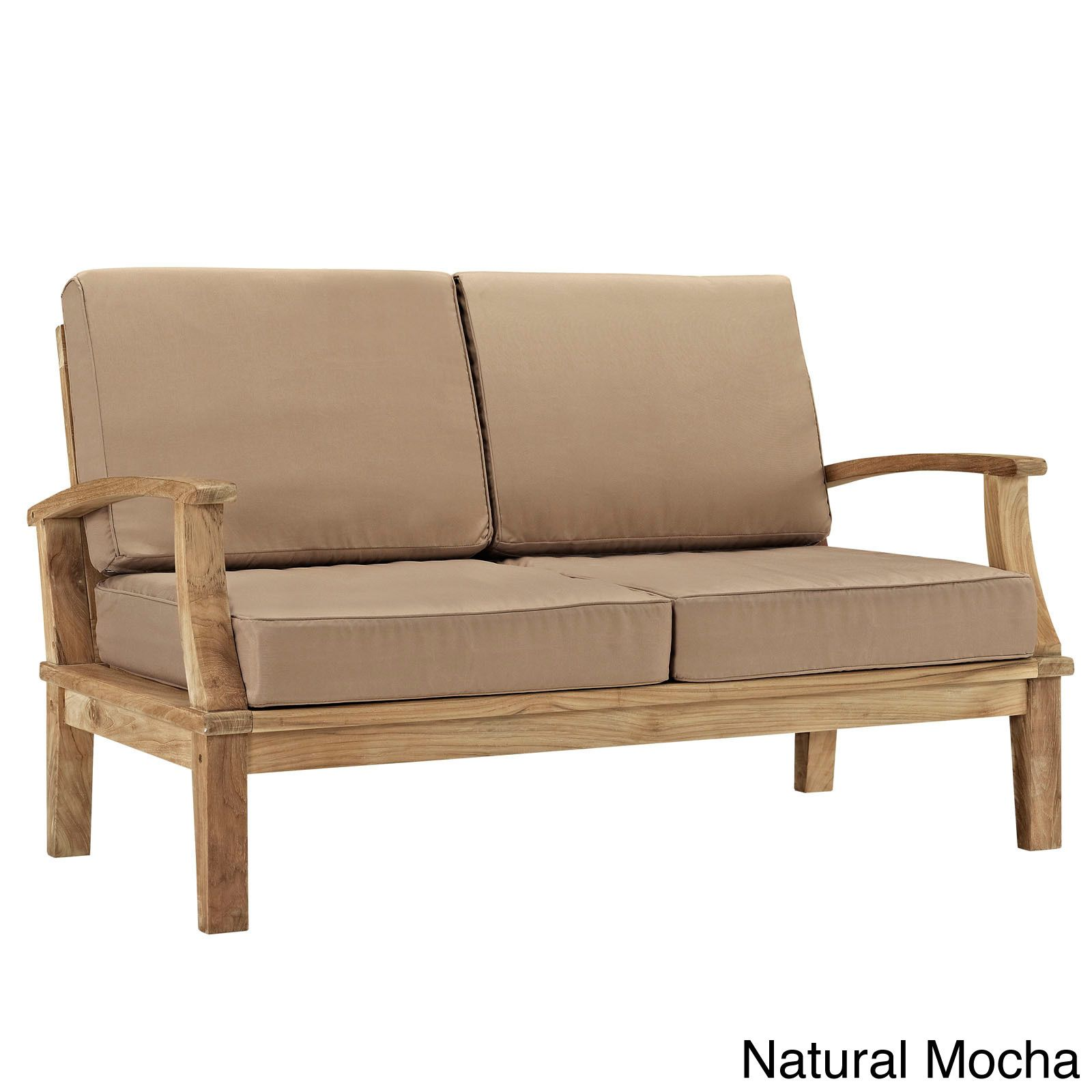 Awe Inspiring Modway Pier Outdoor Patio Teak Loveseat Natural Mocha Ocoug Best Dining Table And Chair Ideas Images Ocougorg