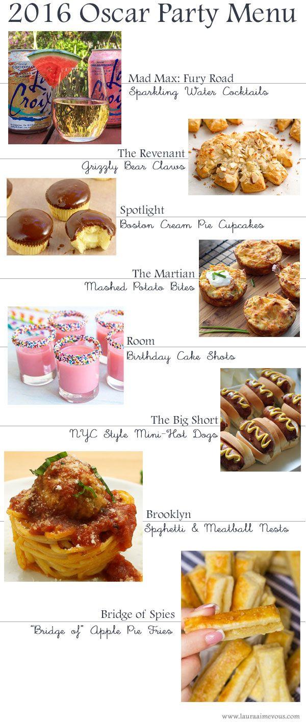 Oscar Party Themed Menu 2016 Food Pinterest Oscar Party Menu