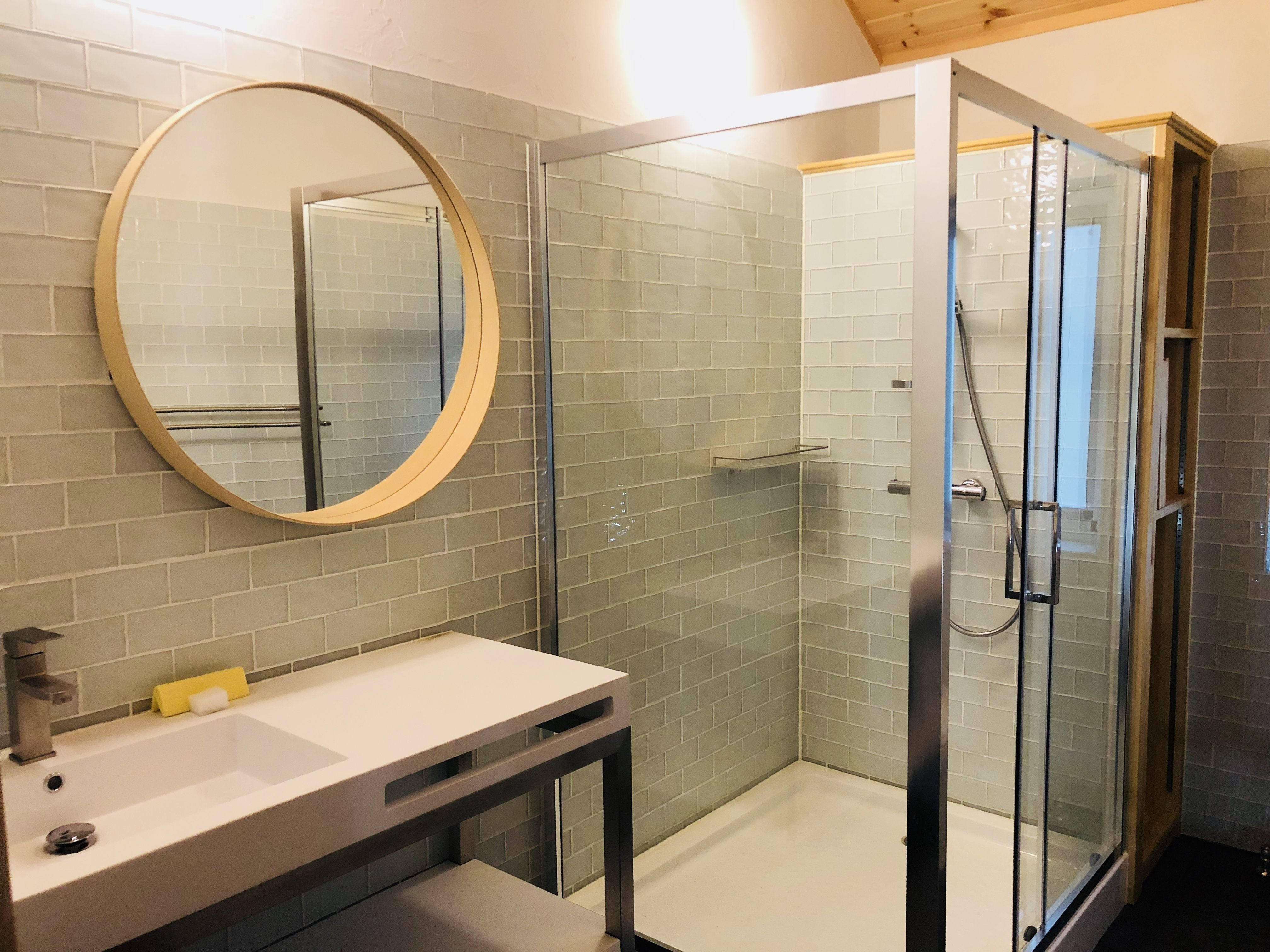 Bathroom 2 Shower Box Toilet Round Mirror Bathroom Bathroom Mirror Winter House
