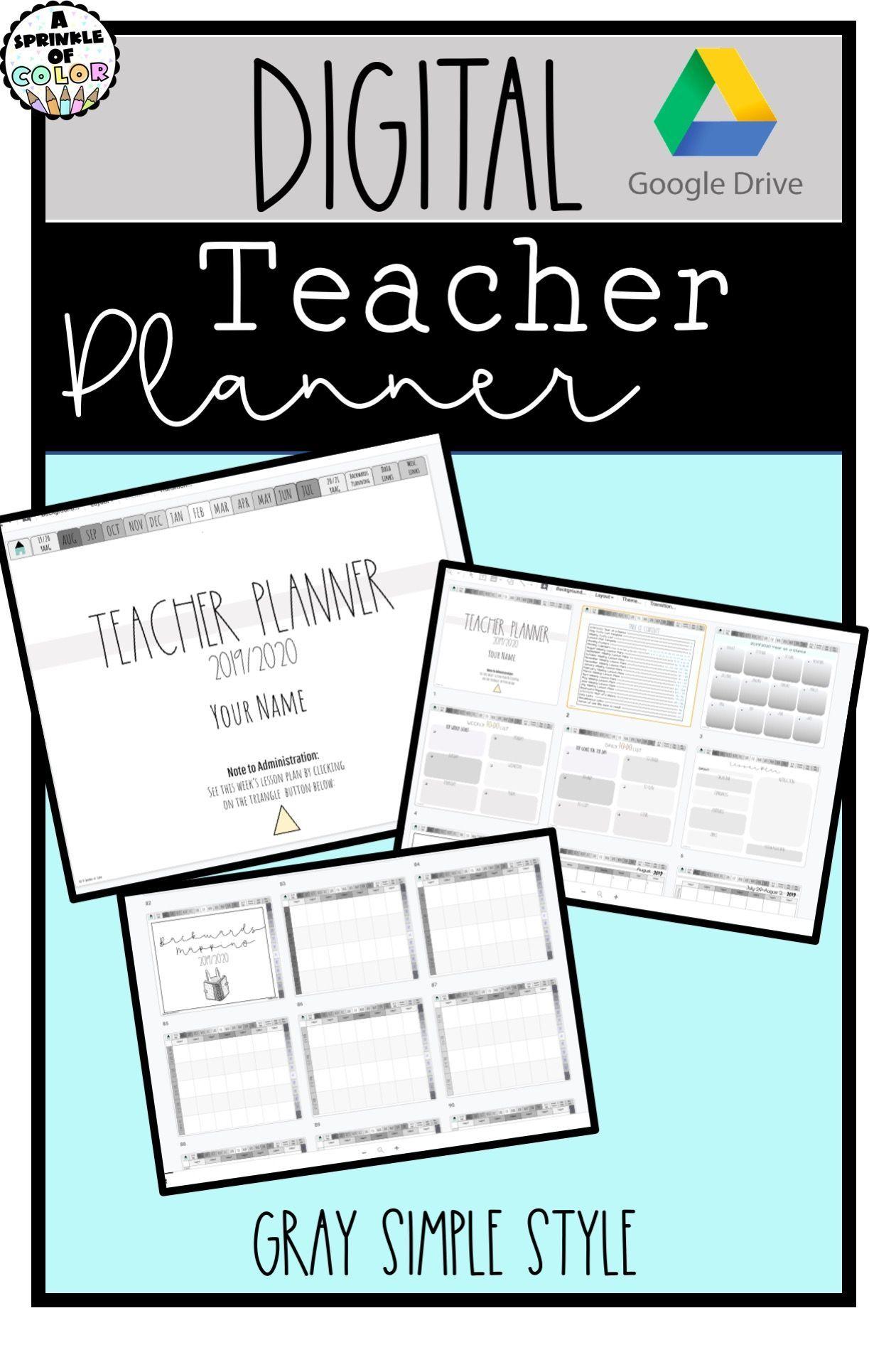 2019/20 Digital Teacher Planner on Google Slides. August