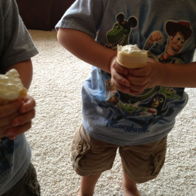 """Drip-less (almost) cone! Fill a cone with frozen whipped topping, instead of ice cream, for an easy-to-eat toddler """"ice cream"""" cone!"""