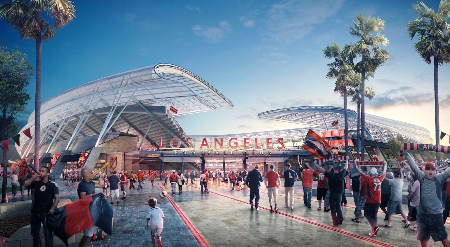 Photos Lafc Unveil Plans To Build 250 Million Stadium Near Downtown Los Angeles Prosoccertalk Nbc Sports Los Angeles Football Club Architectural Competition Stadium