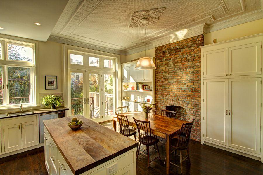 Brooklyn Brownstone Kitchen - butcher block island, brick wall for ...