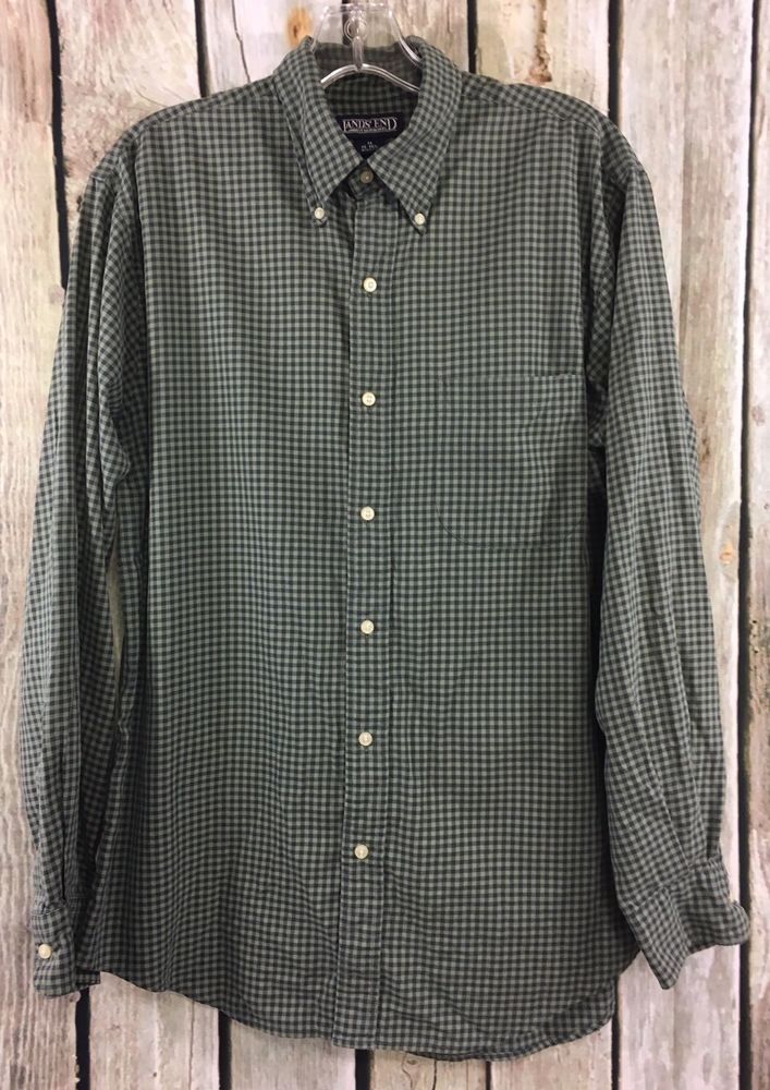 Green Gingham Long Sleeve Button Up