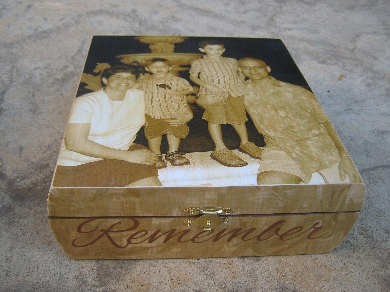 Custom memorial keepsake box personalized photo memory