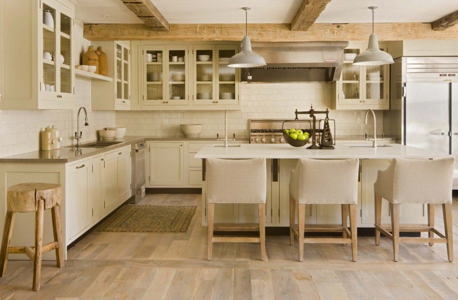 Intriguing Neutral Interior Design for Ski Lodge : Neutral Kitchen Interior Wooden Floor Tile Backsplash Ski Lodge