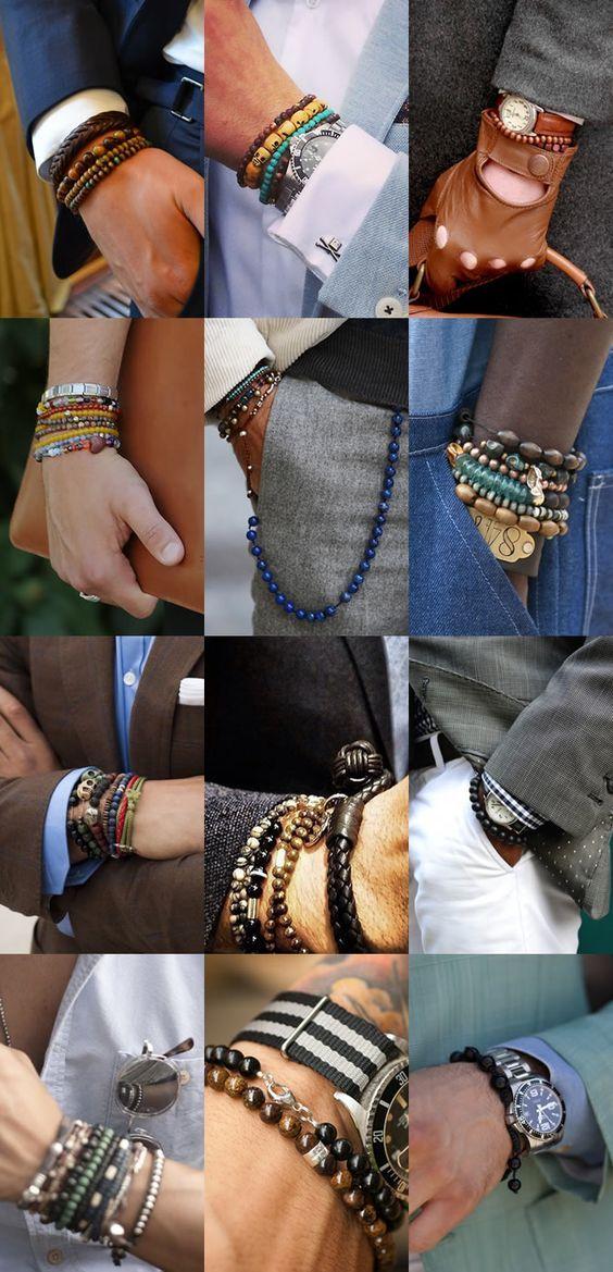 La conclusion es que si su trabajo lo permite, es un accesorio que refresca al imagen. Puede ser solo uno. Men's Beaded Bracelets Lookbook ... #Mens #Fashion #MensFashion #Accessories #Ties #Socks #Jewelry