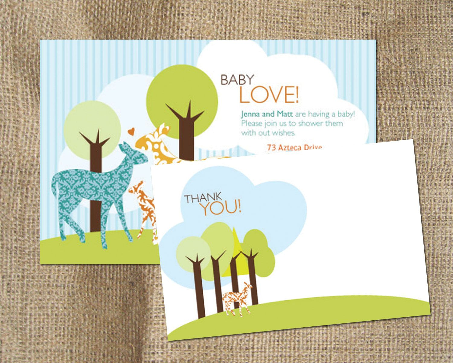 Baby Shower Invitation And Thank You Card Set Baby Deer