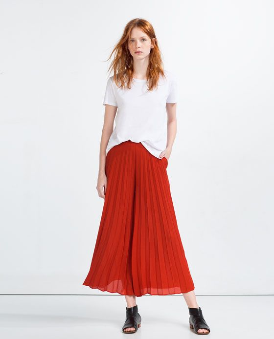 a345e141 Image 1 of PLEATED FRONT CULOTTES from Zara | Fashion Candy ...