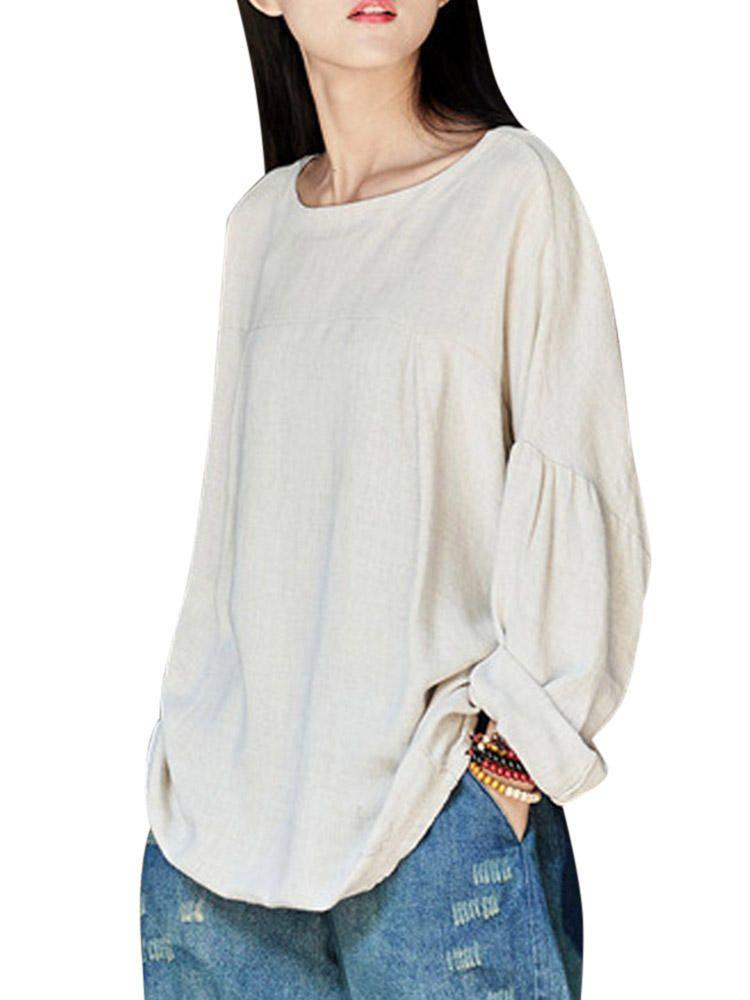 e12cac285e894 Plus Size Vintage Women Cotton Shirts at Banggood