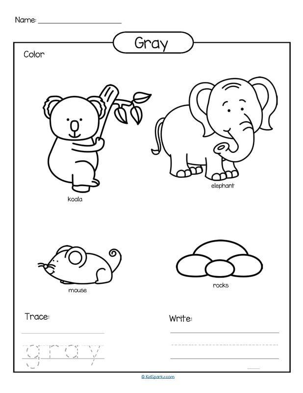 Color gray printable color, trace and write. teach