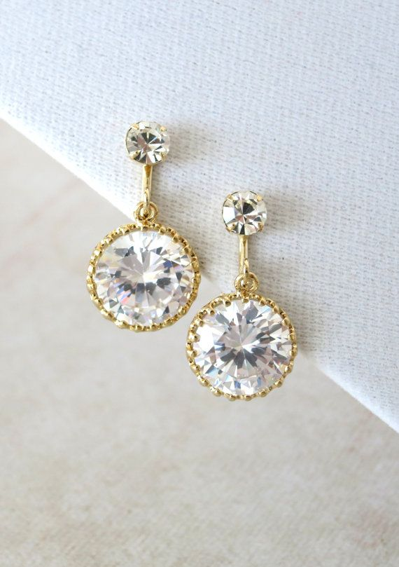 Clip-On Big Round Cubic Zirconia Drop Earrings, Gifts, Gold Jewelry, Gold Earrings, Gold Bridesmaid Earrings, Bridal Jewelry, Champange gold Wedding Jewelry, www.glitzandlove.com, by GlitzAndLove