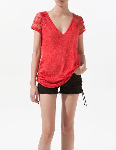 LINEN T-SHIRT WITH LACE BACK - T-shirts - Woman - ZARA