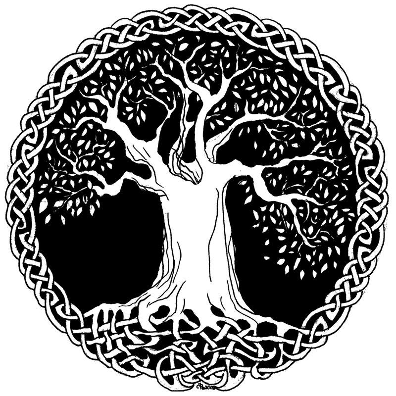 arbre de vie celtique avec les racines entrelac es. Black Bedroom Furniture Sets. Home Design Ideas