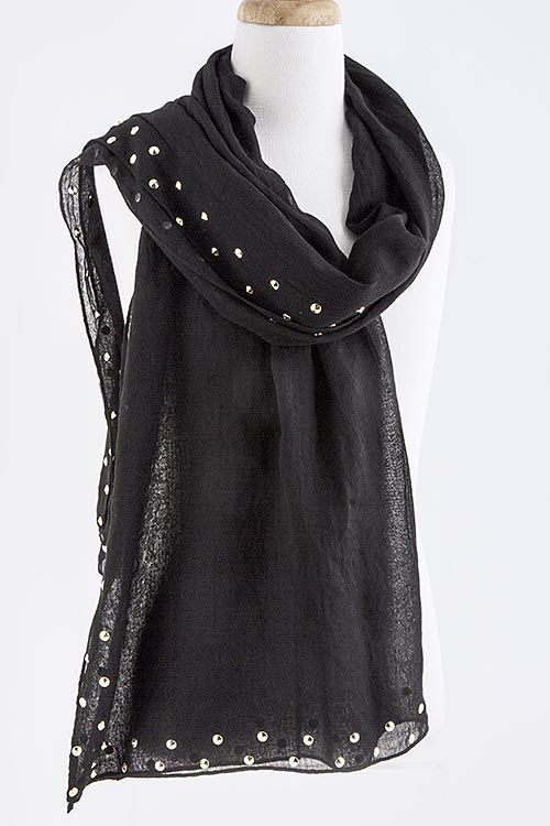 B68 2 Row Metal Stud Black Gold Wide Long Scarf Shawl High End Boutique