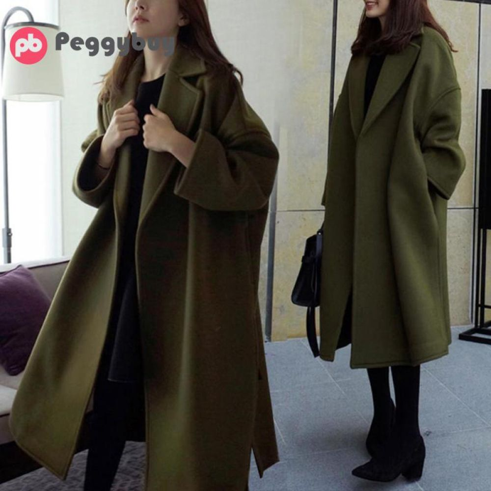 Women Autumn and Winter 2018 Korean Long Loose Oversized Woolen Coats