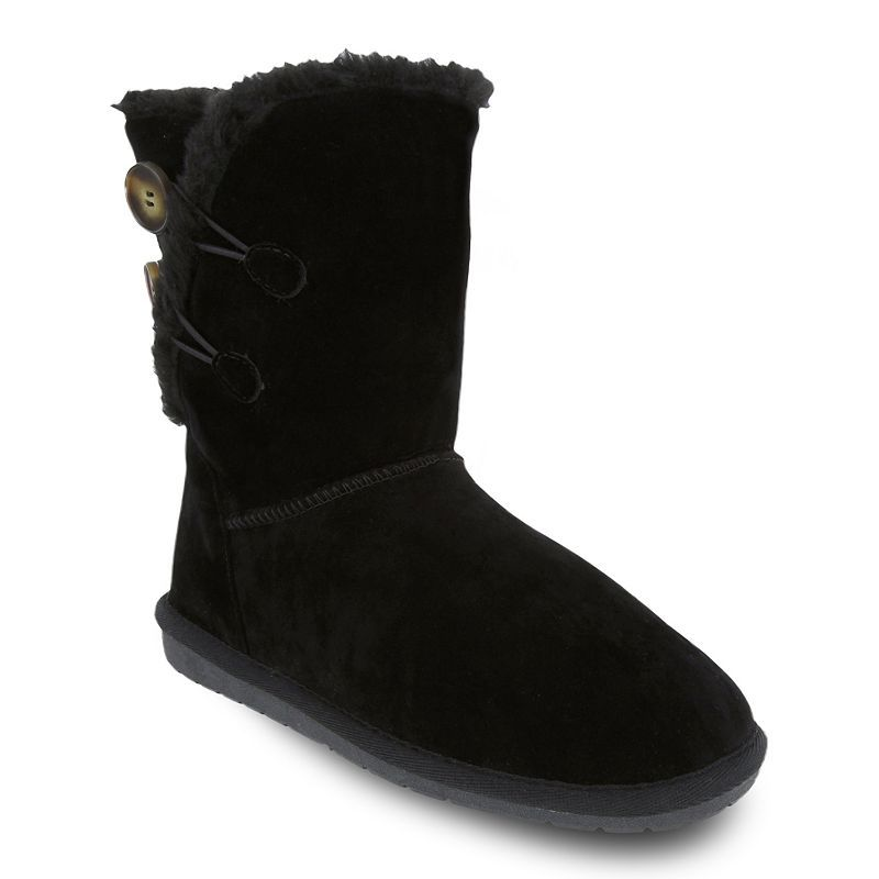 Black Fire and Turquoise Faux Fur Boots