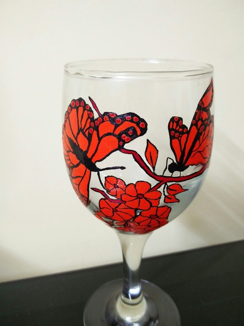 Hand Painted Butterflies And Flowers On A Wine Glass Fabric Acrylic Paints Wine Glass Glass Painting