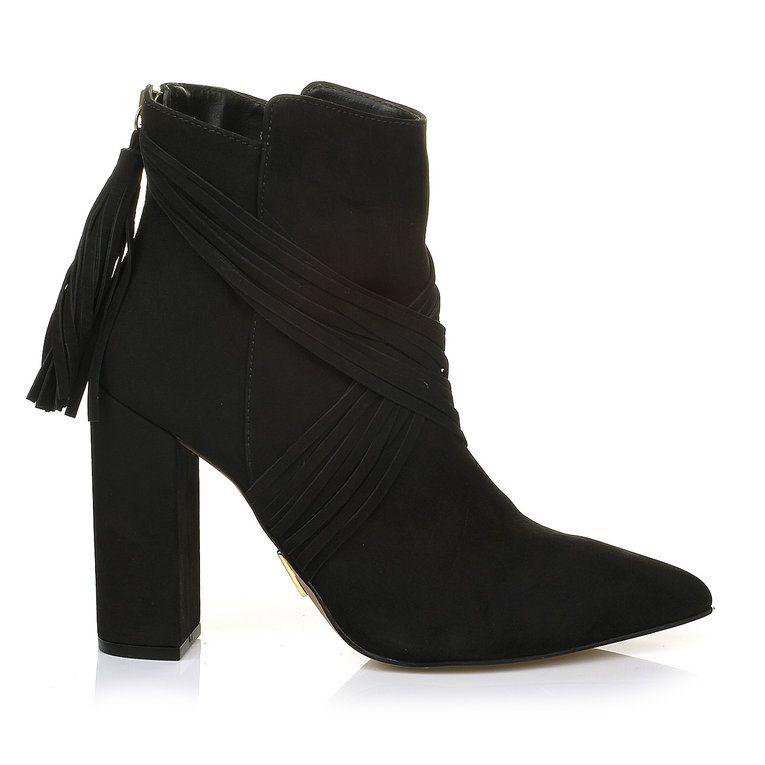 Ankle Boot Salto Alto Nobuck Preto -  UZA Shoes