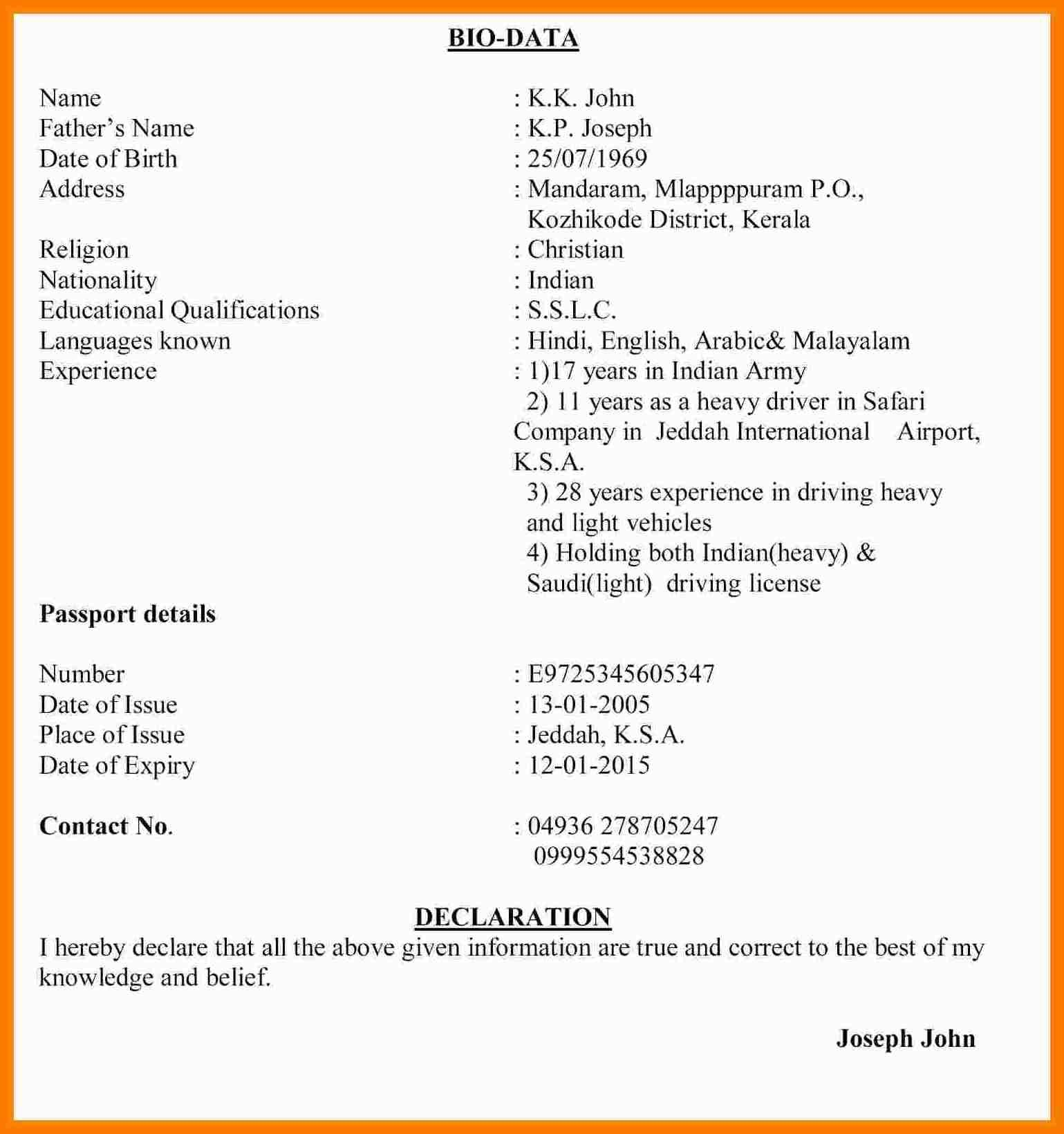 Image Result For Biodata Format For Marriage Pdf Free Download