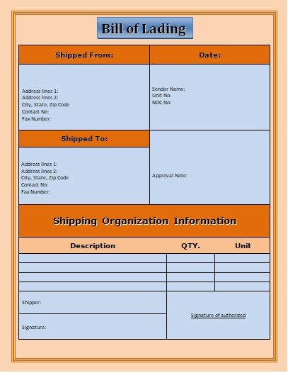 7+ Bill of Lading Templates | Word, Excel & PDF Templates | www ...