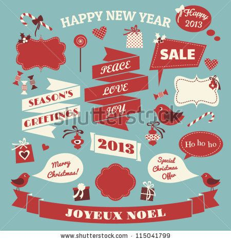 A Set Of Christmas Design Elements In Blue Red And White Stock Vector 115041799