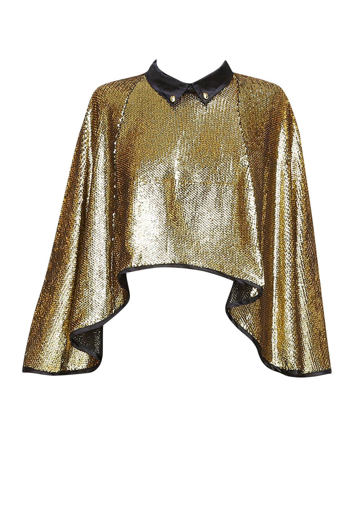 Bold gold sequin cape available only at Pernia's Pop Up Shop.