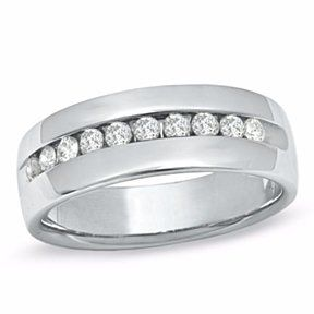 Mens 1/2 Ct Channel Set Diamond Wedding Band In 14K White Gold # Free Stud Earrings by JewelryHub on Opensky