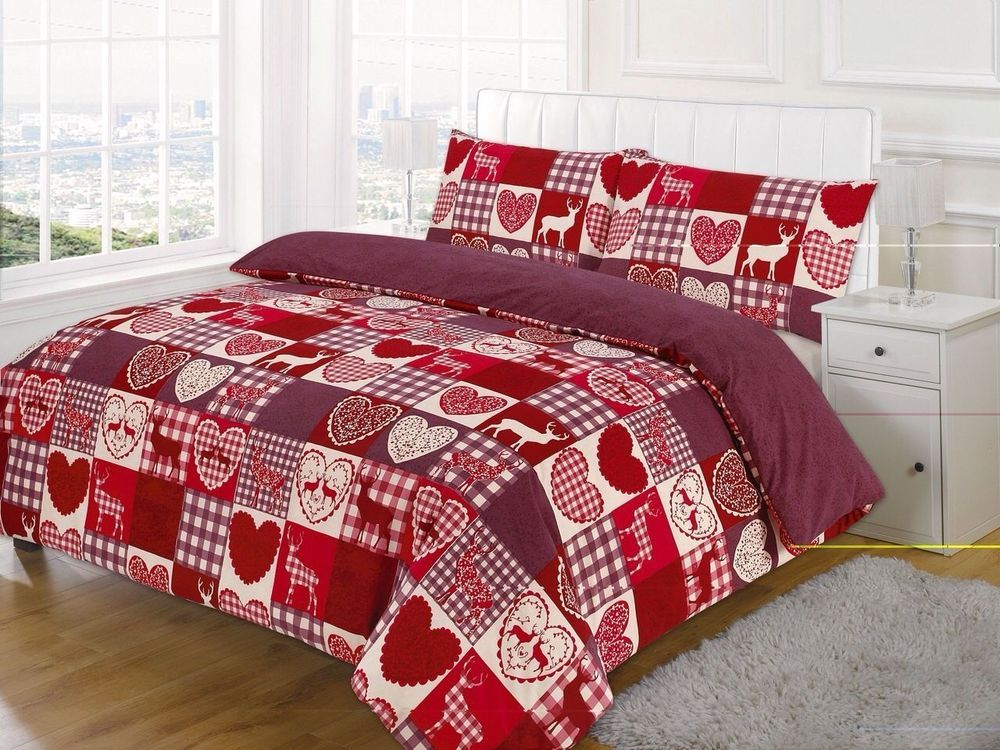 quilt cover love heart checked cotton rich red heart duvet set with pillow case in home. Black Bedroom Furniture Sets. Home Design Ideas
